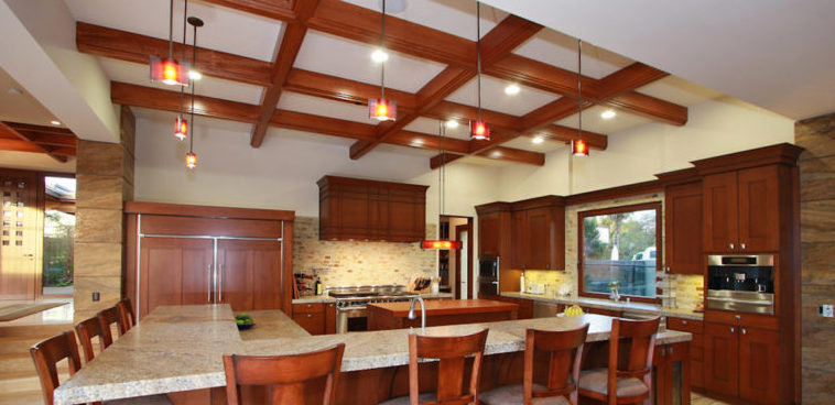 seaside carlsbad custom kitchen remodel sleek lighting pendants