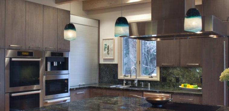 san diego hillside custom kitchen remodel blue glass pendant light